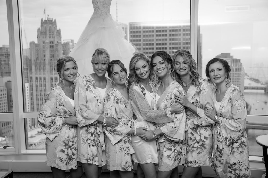 Floral Bachelorette Robes | Rose Gold Sequins Bridesmaids Gowns | Chicago Wedding | Cafe Brauer Wedding | Bubbly Moments
