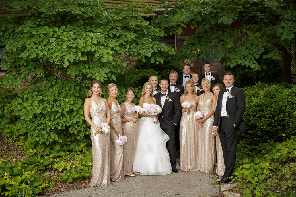 Rose Gold Sequins Bridesmaids Dresses | Black Tuxedos | Bridal Party | Cafe Brauer | Chicago Wedding | Bubbly Moments