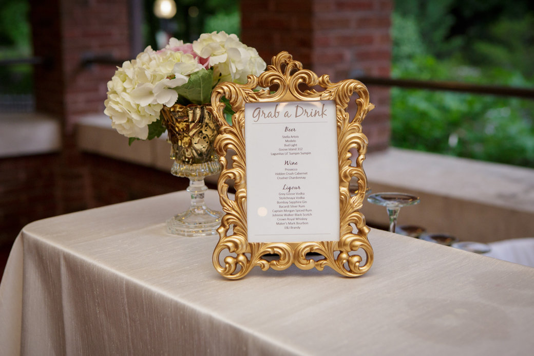 Bar Menu | Gold, Blush, Rose Gold Wedding | Cafe Brauer | Chicago Wedding | Bubbly Moments